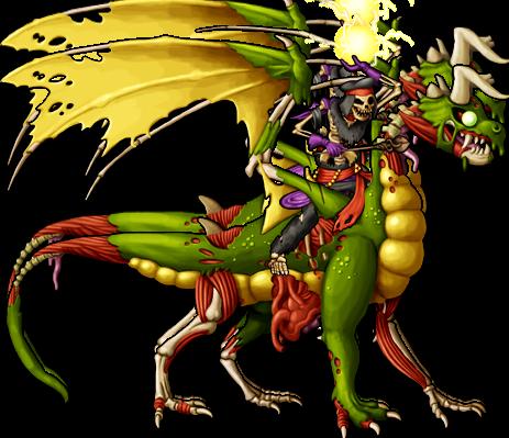 Skeleton Mage Rides Zombie Dragon.png