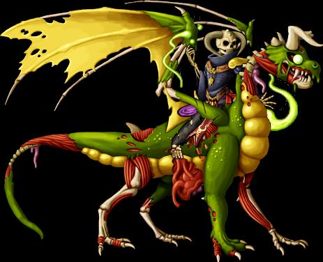 Skeleton Warlock Rides Zombie Dragon.png