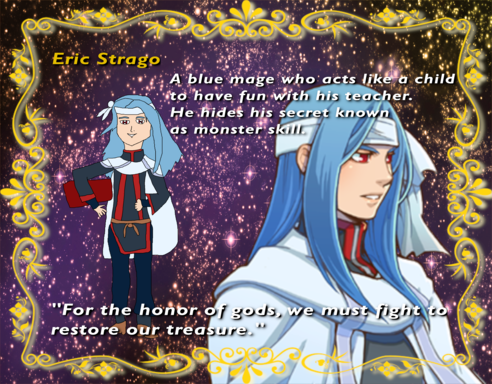 Age: 14, Hometown: Olando City, Class: Blue Mage, Weapon of Choice: Books
