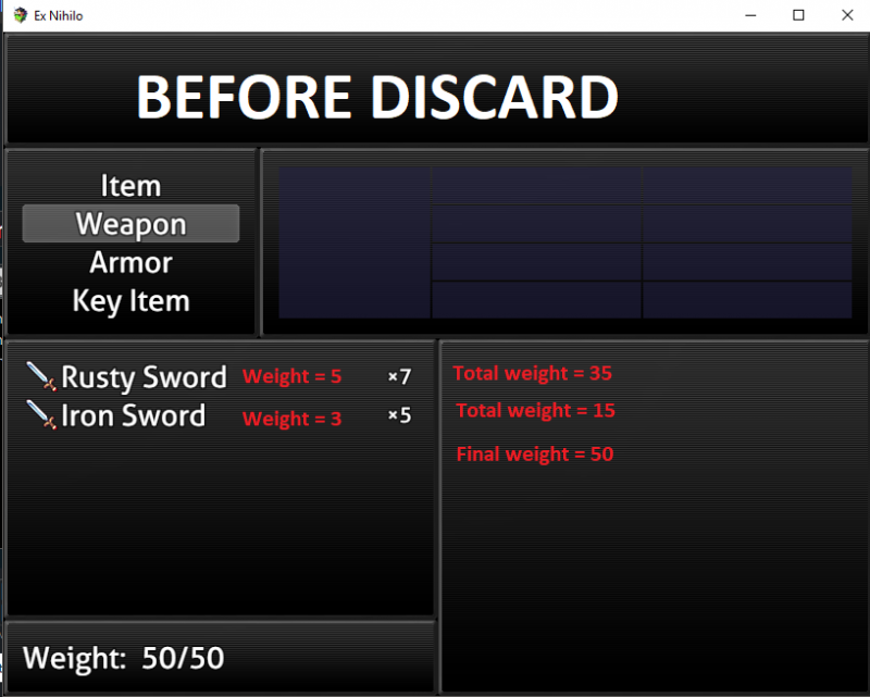 ProcraftyNation's Weight Limit with Yanfly's Item Discard not